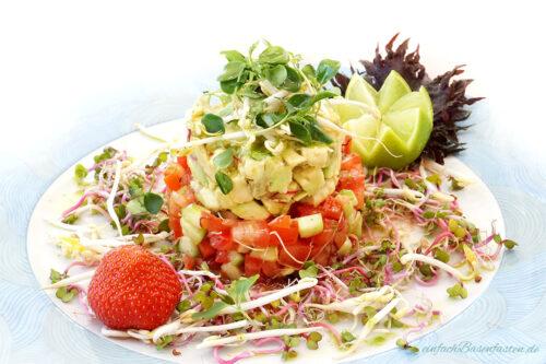 Avocado-Tomaten-Salat-Turm basisch lecker