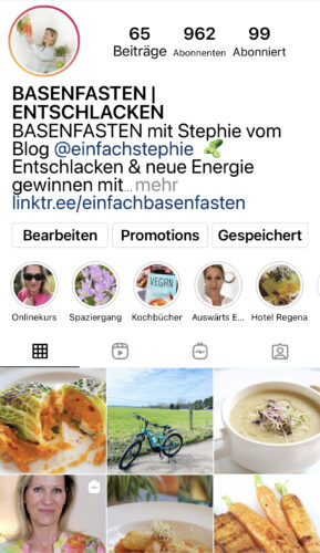 Instagram Kanal basenfasten.einfachstephie